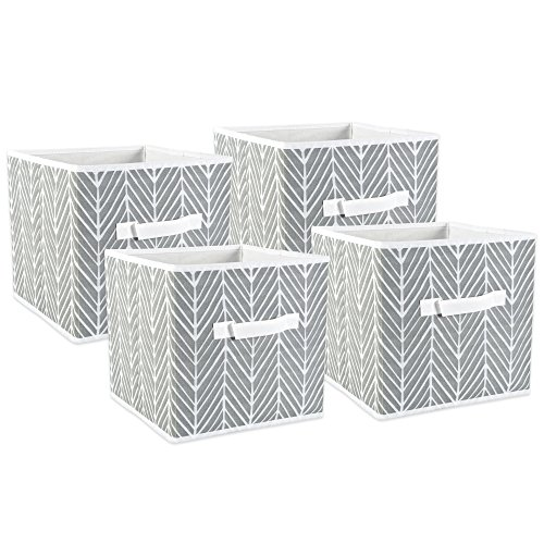 DII Fabric Storage Bins for Nursery, Offices, Home Organization, Containers Are Made To Fit Standard Cube Organizers (11x11x11) Herringbone Gray – Set of 4