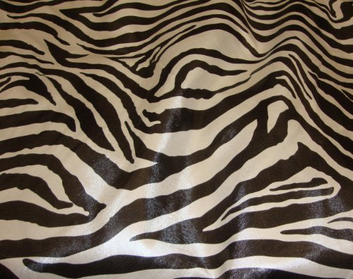 (Zebra Faux Vinyl Black and White Upholstery Fabric Per Yard 54