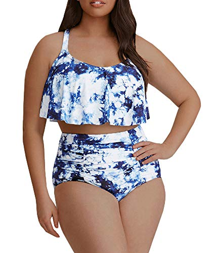 - Womens Plus Size Swimwear Peplum Tankini Tops Tummy Control Floral Retro Swimsuits