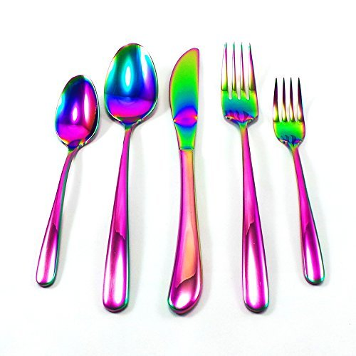 51%2BGxsEUZOL - Great Spirit Wares Iridescent Rainbow Multicolor Flatware 20-Piece Set 18/8 Stainless Steel (Service for 4)