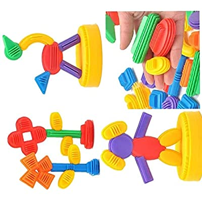 Kids Cute Safe Bright Color Plastic Building Blocks Children Gifts Baby Early Educational Classic Cube Toys: Home & Kitchen