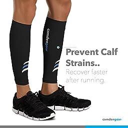 Calf Compression Sleeve by Camden Gear - Helps Shin Splints. Leg Socks for Men and Women - Large