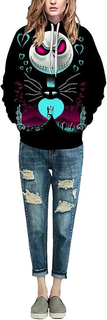 M/_Eshop Unisex Novelty 3D Printed Jack Skellington Pullover Nightmare Before Christmas Hoodie
