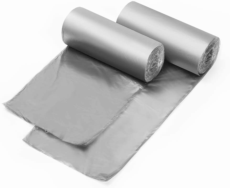 1.2 Gallon Grey Trash Bags, Rubbish Bags 80 Counts, Extra Strong Garbage Bags 5 Liter for Kitchen, Office, Home/2 Rolls