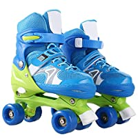 Hosmat Adjustable Inline Skates with Light up Wheels Roller Skates for Girls Beginner Kids Boys Roller Outdoor/Indoor (US Stock) (Blue, US-S-12J-2)