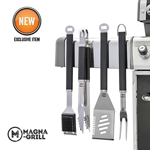 4 Piece Grilling (Yukon Glory Magnetic Grill Tool Set 4 Piece Stainless Steel Grilling, BBQ and Tailgating. Grilling Fork, Spatula, Tongs and Brush. The Ultimate GRILLING / BBQ ACCESSORIES)