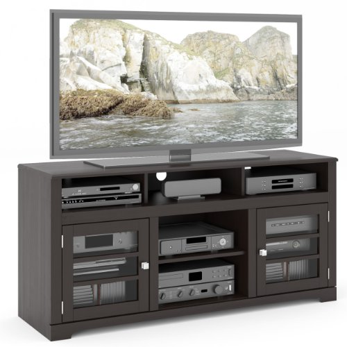 Sonax TWB-206-B West Lake TV Stand Component Bench Media Storage Unit in Mocha Black, for TV Up To 68""
