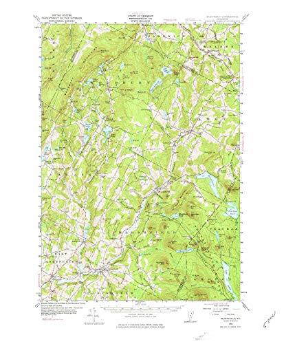 YellowMaps Plainfield VT topo map, 1:62500 Scale, 15 X 15 Minute, Historical, 1953, Updated 1977, 21.8 x 18 in - Paper -