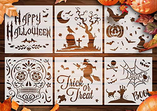 GSS Designs Halloween Decor Stencils Pack of 6 - Craft Scrapbooking Cards Making Halloween Ideas 6x6 Inch - Use on Cookies, Wall, Glass, Fabrics, Wood, Cards, Posters, and More (SL-020)