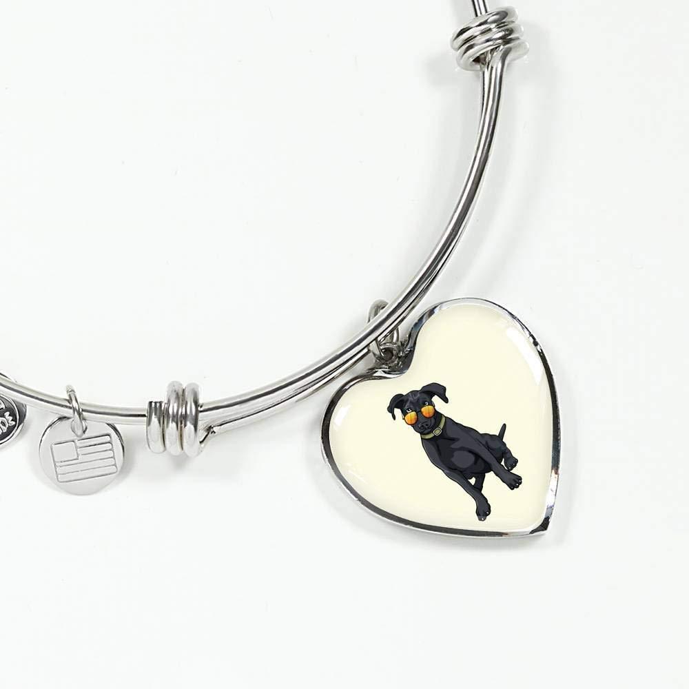 Weezag Black Labrador Heart Pendant Necklace Bangle for Cute Dog Lovers