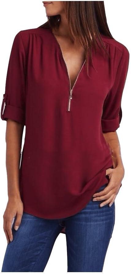 Yisaesa Camisa de Mujer Blusa de Manga Corta con Cuello en V Blusa Cremallera Suelta Sexy Verano Casual Verano (Color : Vino Rojo, tamaño : 2XL): Amazon.es: Hogar