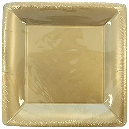 Lillian Tablesettings 24-Piece Square Paper Plates Set, 10-Inch, Gold 22915