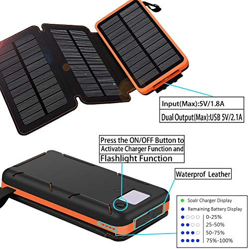 Solar Charger 24000mAh,Solar Power Bank Waterproof Dual USB Output with 3 Solar Panels External Battery Bank with Flashlight for iPhone,Samsung,iPad and Outdoor Camping(Orange) by WBPINE (Image #3)