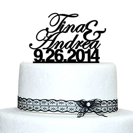 Custom Wedding Cake Topper, Personalized Name Cake Topper, Date Cake Topper,  Proposal Cake