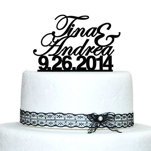 Amazon Custom Wedding Cake Topper Personalized Name Date Proposal Toppers Kitchen Dining
