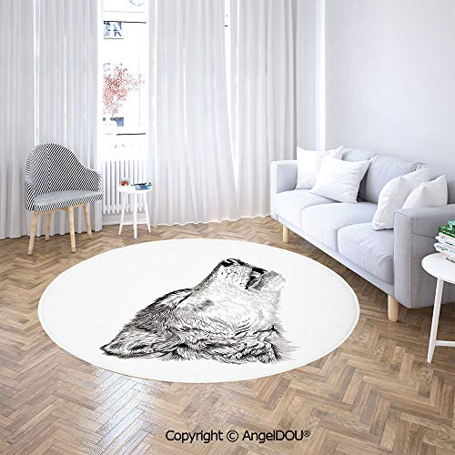 AngelDOU Round Area Rug Stain Fade Resistant Floor Mat Hand Drawn Monochrome Sketch of a Howling Canine Tattoo Pattern Illustration Soft Living Dining Room Area Rug