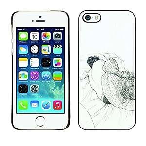 Shell-Star Arte & diseño plástico duro Fundas Cover Cubre Hard Case Cover para Apple iPhone 5 / iPhone 5S ( Sleeping Dream Art Drawing Pencil Man Bed )