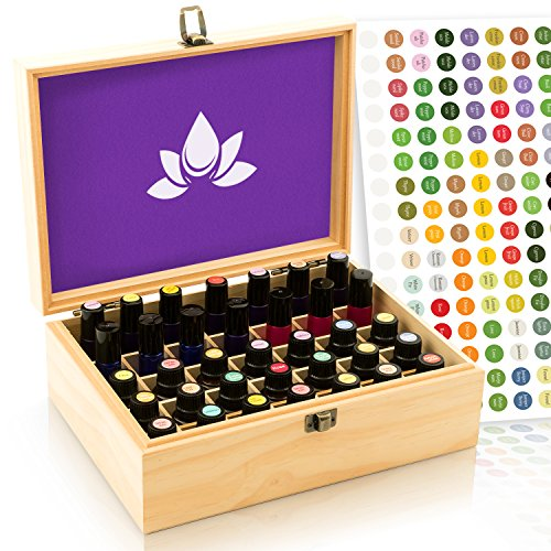 Essential Oil Box - 35 Slots. Fits Tall Roller Bottles. Sealed Natural Pine, Wooden Storage Case. Free EO Labels & Foam Pad. Best for 5ml 10ml 15ml and 30ml Drams