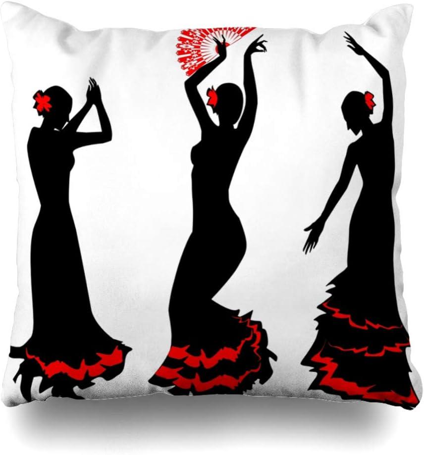 Ahawoso Throw Pillow Cover Square 16x16 Inches Grace Silhouette with Three Silhouettes Flamenco Dancer Gypsy Rhythm Fan Spain Rumba People Tango Decorative Pillowcase Home Decor Cushion Pillow Case