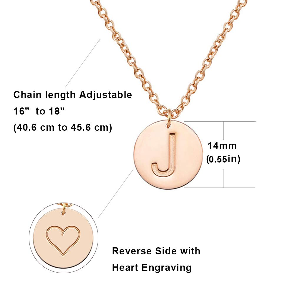 THREE KEYS JEWELRY Rose Gold Tone Initial Necklace//Bracelet 316L Stainless Steel Disc Pendant Necklace with Letter Alphabet DB-RG12-A