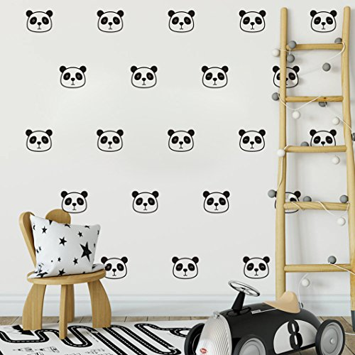 Panda Vinyl (Panda Wall Decals, Cute Panda Face Decals,Vinyl Wall Stickers for Baby Kids Boy Girl Bedroom Nursery Decal(A08) (Black))