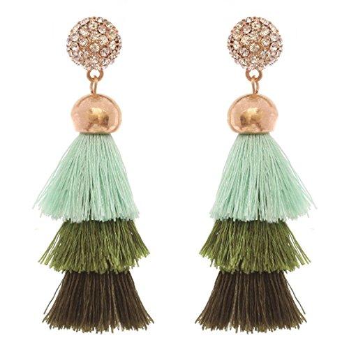 Women's Stone Stud 3 Layered Short Tassel Dangle Pierced Earrings, Olive Mix/Gold-Tone (3 Stone Gold Tone Earrings)