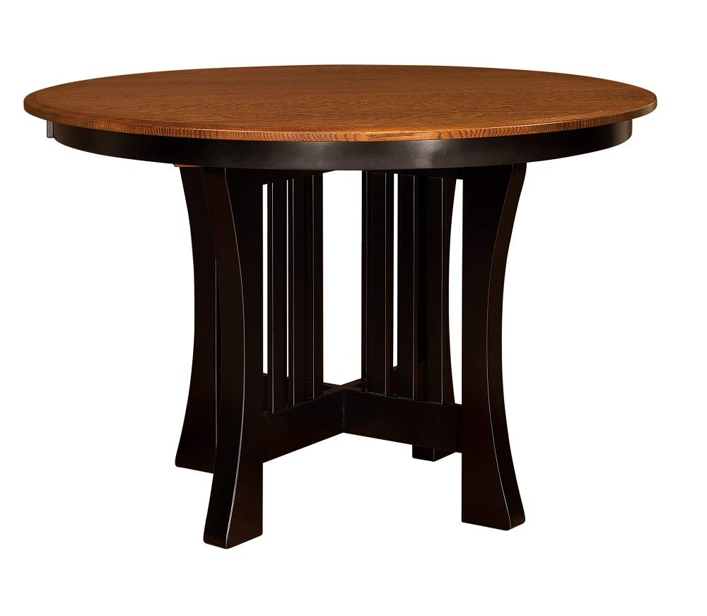 """New Hickory Wholesale Amish Arts & Crafts 48"""", 54"""", 60"""" Solid Wood Pub Dining Table, Stained (54"""")"""
