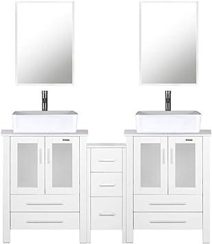 Amazon Com 60 Bathroom Vanity 2 X 24 Vanity 2 X Porcelain Vessel Basin Sink 1 X 12 Side Cabinets Double Bathroom Vanity Top With Porcelain Vessel Sink 1 5 Gpm Faucet Drain Parts Mirror Includes White Furniture Decor