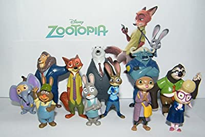 Disney Zootopia Movie Deluxe Figure Set of 13 with Officer Judy Hopps, Nick Wilde, Duke Weaselton, Cheif Bogo and Many More!
