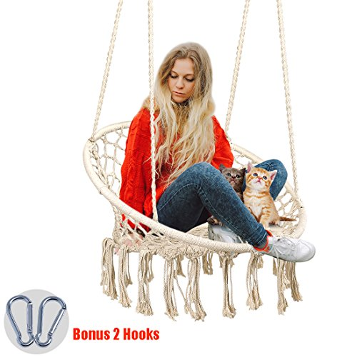 Zupapa Boho Hanging Chair Swing Bonus 2 Hooks, Handmade Macramé Cotton Net 265Lbs Capacity Hammock Chair for Indoor/Outdoor Living Room Décor Porch Deck Backyard Garden Reading Leisure - - Living Chair Room Outdoor