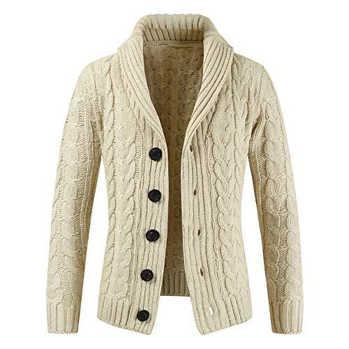 MODOQO Men's Knit Sweater Long Sleeve Button Sweatshirt Jacket Coat Outwear Top (Beige ,XL )