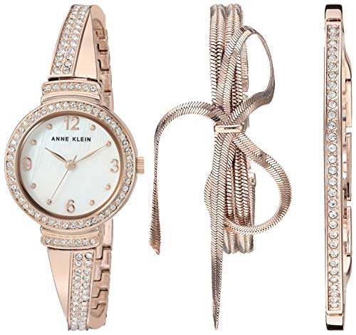 (Anne Klein Women's AK/3256RGST Swarovski Crystal Accented Rose Gold-Tone Bangle Watch and Bracelet Set)