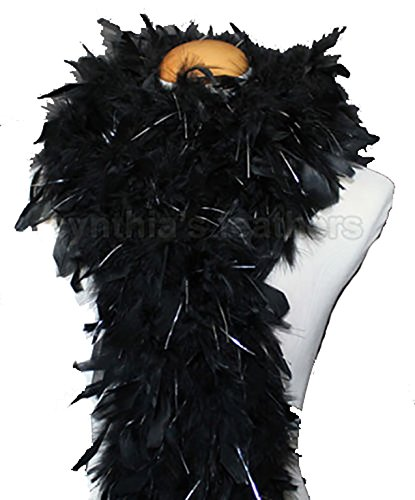 Cynthia's Feathers 80g Chandelle Feather Boa (Black/Silver Tinsels)