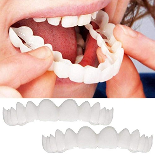 Braces Instant Veneers Dentures Fake Teeth Serrated Denture Teeth Top Comfort Fit Flex Teeth Socket To Make White Tooth Beautiful Neat ,2PCS -