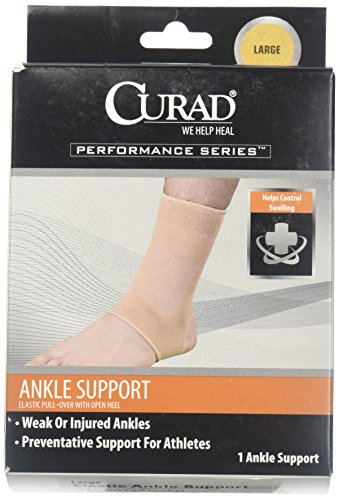 - Curad Elastic Pull-Over Ankle Support with Open Heel, Large