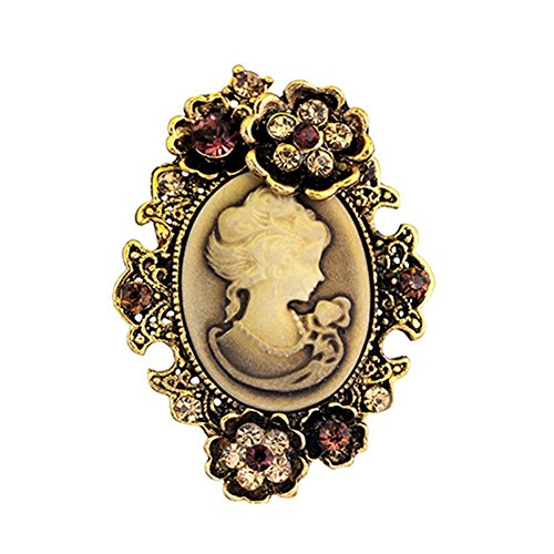 age Inlaid Rhinestone Flower Beauty Relief Cameo Antique Brooch Pin - Gold (Vintage Cameo Pin)