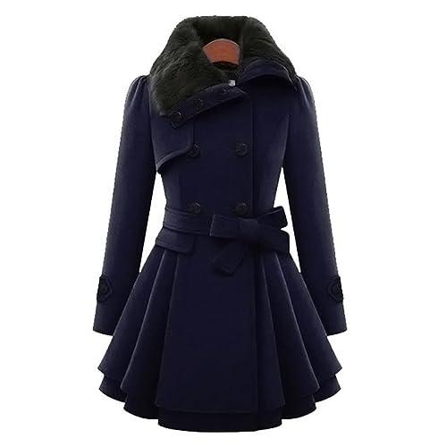 Manteau femme col officier noir