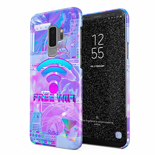 Glitbit Compatible with Samsung Galaxy S9 Plus Case Free WiFi Vaporwave Oldschool Retro 80s 90s Purple Aesthetic Computer Glitch Thin Design Durable Hard Shell Plastic Protective Case Cover
