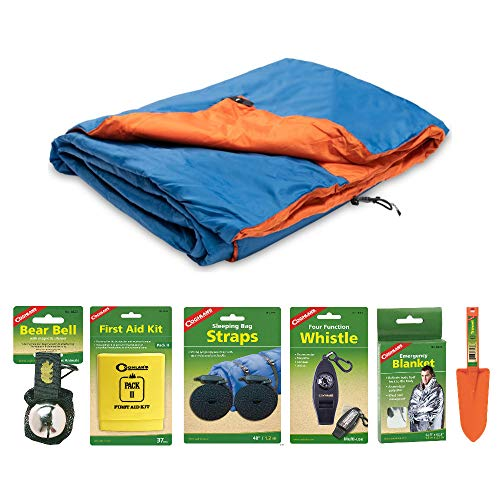 Klymit Versa Blanket (Blue/Orange) and Camping Essentials Kit | Includes Whistle, Emergency Blanket, Bear Bell, Straps, First Aid Kit, and Portable Shovel in Bundle