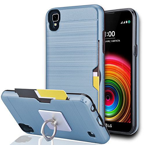 LG XPower Case,LG X Power Cases,LG K6P/K450/ K6 K220/US610 Case with Phone Stand,Ymhxcy [Credit Card Slots Holder][Brushed Texture] Dual Layer Shockproof Protective Cover for LG K210-LCK Metal Slate