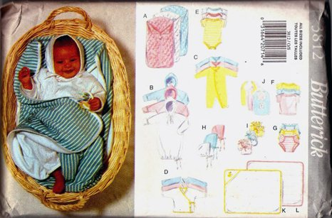 Butterick Pattern 3812 Infant's Layette, Size Newborn-Extra (Hooded Towel Patterns)