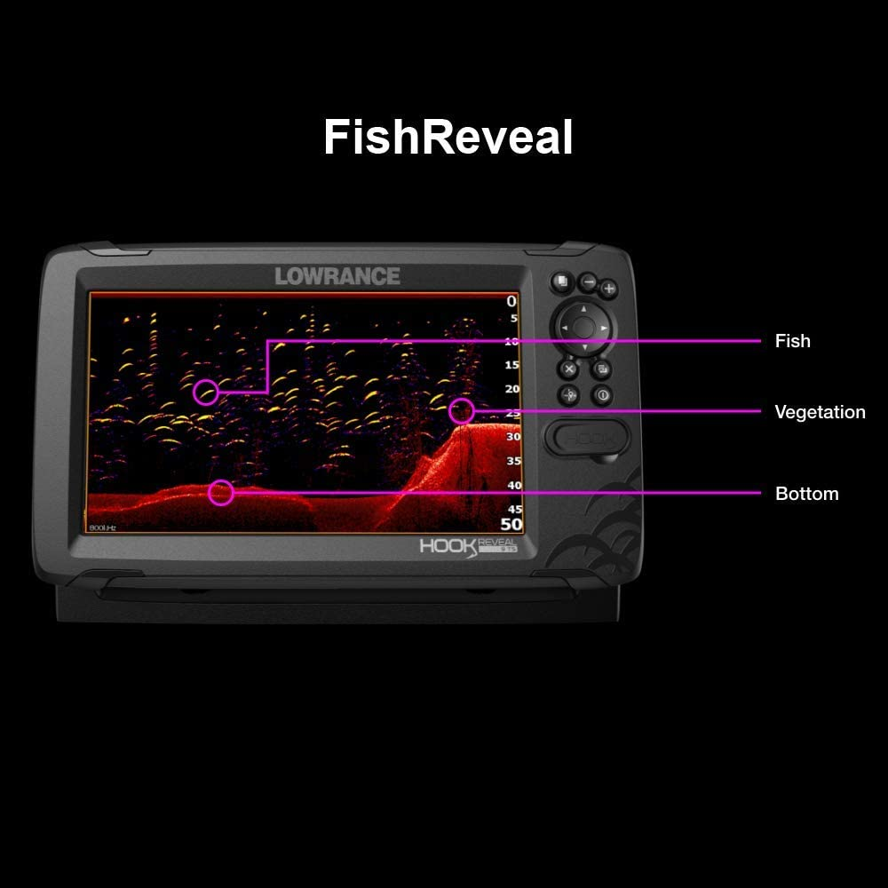 Lowrance 000-15526-001 Hook Reveal 9 Chartplotter//Fishfinder Tripleshot Transom