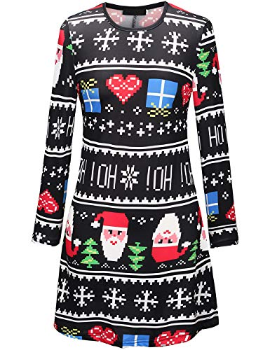 Youthwell Christmas Dress, Women Snowman Print A Line Swing Dress Plus Size