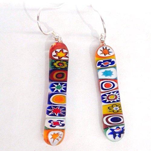 Murano Millefiori Drop (Hand Made Murano Glass Millefiori Drop Earrings - Sterling Silver)