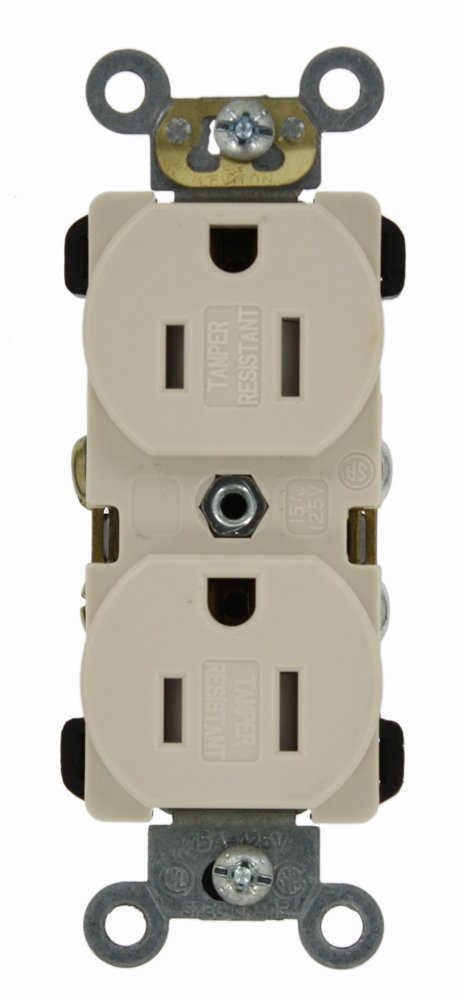 Leviton TBR15-T 15 Amp, 125 Volt, Narrow Body Duplex Receptacle, Straight Blade, Tamper Resistant, Commercial Grade, Self Grounding, Light Almond