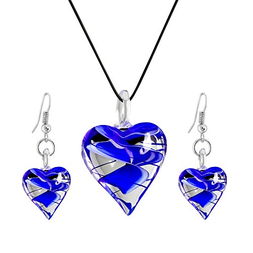 - VEINTI+1 Exotic Style Eye-catcher Handmade Blue Heart Design Glass Necklace&Earrings Jewelry Set