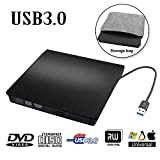 External DVD Drive USB 3.0 Transmission Slim Portable External DVD CD +/-RW Writer/Burner/Rewriter ROM Drive Perfect for Mac OS/Win7/Win8/Win10/Vista PC Desktop Laptop