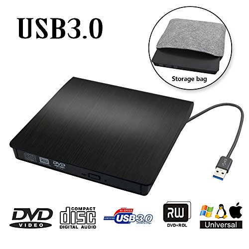 SB 3.0 Transmission Slim Portable External DVD CD +/-RW Writer/Burner/Rewriter ROM Drive Perfect for Mac OS/Win7/Win8/Win10/Vista PC Desktop Laptop (Dl Dvd Writer)