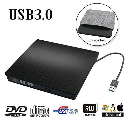 External DVD Drive USB 3.0 Transmission Slim Portable External DVD CD +/-RW Writer/Burner/Rewriter ROM Drive Perfect for Mac OS/Win7/Win8/Win10/Vista PC Desktop Laptop Open Storage No Trays