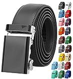 Falari Men's Genuine Leather Ratchet Dress Belt Automatic Sliding Buckle 8168-BLK-M36